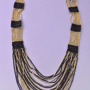Crash My Party Black and Gold Beaded Necklace
