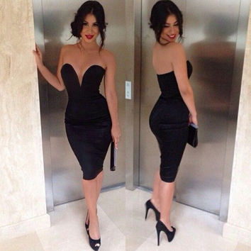 Homecoming Dress,  Deep V-Neck Black Homecoming Dress, Short Prom Dress