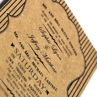 Rustic Typography Wedding Invitation - Handmade Invite and Reply Card - Eco Friendly Kraft - Sample Pack