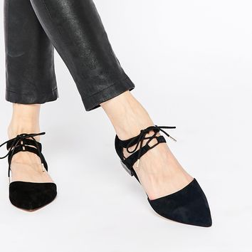 Faith Garr Black Lace Up Flat Shoes
