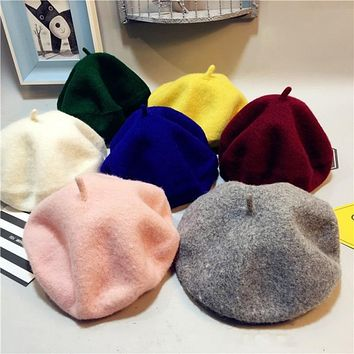 2018 Sale Solid Baby Girls Boinas Boina Feminina Hipster Joker  Wool Felt Beret Multicolor Painter Hat for Children