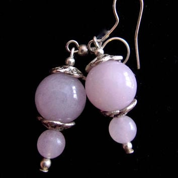 Chalcedony Pink Gray Drop Earrings, Dangle Gemstone Beads Silver Plated, Vintage