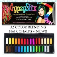 32 Color Hair Chalk Set | Lasts up to 3 Days | Blendable Pastel and Primary Colors | for All Hair Types | Sets in 60 Seconds:Amazon:Beauty