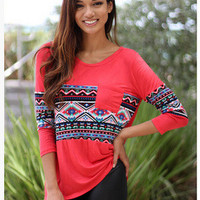 Women's Trending Popular Fashion Retro Vintage Tribal Ethnic Mixed Color Solid Casual Party Playsuit Clubwear Bodycon Boho Top Shirt T-Shirt _ 4504