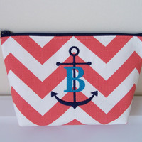 Coral White Navy Chevron Nautical Anchor Monogram Waterproof Lining Zippered Cosmetic Make Up Bag/Pouch/Accessory/Bridesmaid Gift/Travel