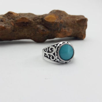 Turquoise Ring, Natural Turquoise Silver Ring, Blue Gemstone Ring for Wedding, Anniversary, Silver Turquoise Ring for Party, Size US 10