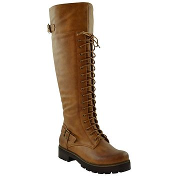 Womens Lace Up Knee High Combat Boots Camel