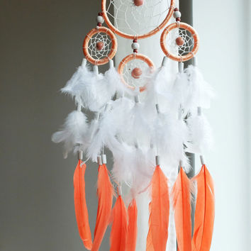 Dreamcatcher, Boho Dreamcatcher, Pastel Dream catcher, White dreamcatcher, Coral , Boho Wall Hanging, Home Decor, Feathers , Gypsy