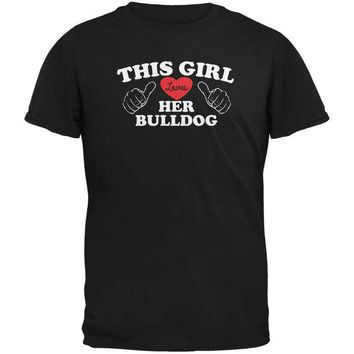 ONETOW Valentines This Girl Loves Her Bulldog Black Adult T-Shirt