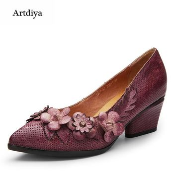 Artdiya Original 2018 Spring Women Shoes genuine Leather Handmade Retro Flowers Pointed Toe Fashion Cowhide Shoes 5367-A7
