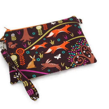 Adorable whimsical forest animals double zippered wristlet wallet purse. Chocolate brown and orange. Women gift under 30.