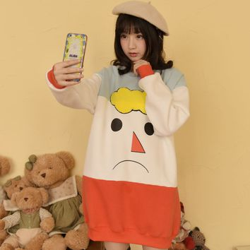 Japanese students cute stitching color fleece pullover