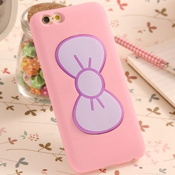OPAL FERRIE - Lovely Candy Color 3D Bow-knot Soft Silicon Case For iPhone