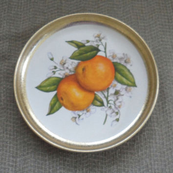 Vintage 1950's GOLD ANNODIZED METAL Tray /  Snack Serving Tray / Orange Blossoms n Oranges / Small Serving Tray / Vanity Tray / Useful Tray
