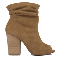 Chinese Laundry Break-Up Peep Toe Slouch Booties - Camel Suede