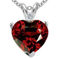 2.02 cttw Tommaso Design(tm) Genuine Garnet and Diamond Heart Pendant in 10 kt White Gold