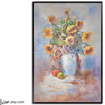 Flower Oil Painting, Sunflower Painting, Still Life Painting, Vertical Canvas Art, Bedroom Art, Living Room Art, Housewarming Gift. Wall Art