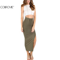 COLROVE Women Bodycon Split Side Skirts New Arrival 2016 Sexy Summer Womens Casual High Waist Maxi Pencil Skirt