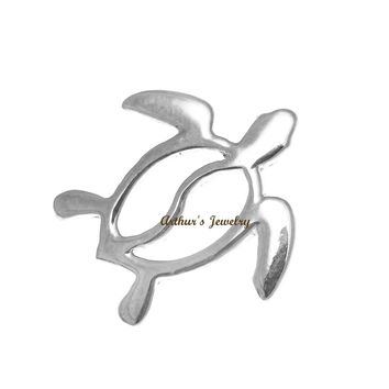 SOLID 14K WHITE GOLD HAWAIIAN HONU TURTLE SLIDE PENDANT 16MM