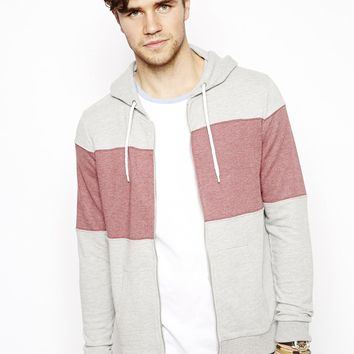 ASOS Hoodie With Cut And Sew Chest Panel