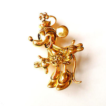 Vintage Minnie Mouse Brooch Signed Napier Disney Gold Tone Metal Cartoon Collectible Broach Pin