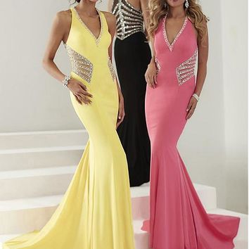 [129.99] Slim Fitted Tulle & Chiffon Halter Neckline Mermaid Evening Dresses With Rhinestones - dressilyme.com