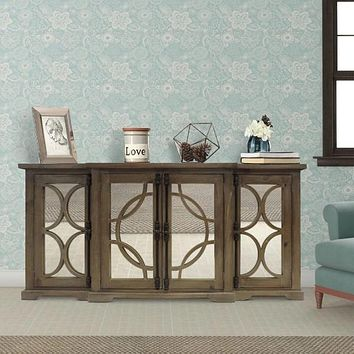 4 Door Wooden Console with Circled Design Mirrored Front, Brown