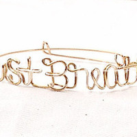 Custom Wire Just Breathe Bracelet (MADE TO ORDER) Gold Bracelet, Silver Bracelet, Copper bracelet, Personalized Bracelet, Yoga, Meditation