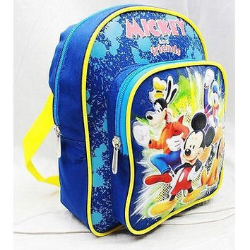 "DISNEY MICKEY GOOFY PLUTO & DONALD DUCK 12"" BLUE BACKPACK-NEW WITH TAGS!"