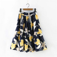 Summer Bohemia Women's Fashion Leaf Print Chiffon Pleated Skirt [4920254404]