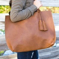 The Eddie Leather Tote - Brown