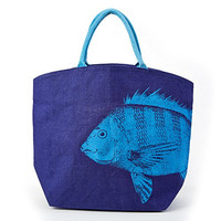 Oceanus Large Jute Tote Bag (Fish C)
