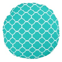 Abstract Geometric Teal Green Quatrefoil Pattern Round Pillow