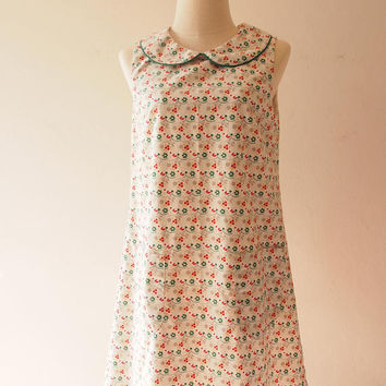 A Line Dress / Cozy Cotton Linen Dress / Green Leaf Holiday Dress / Casual Dress / Front Pockets Dress
