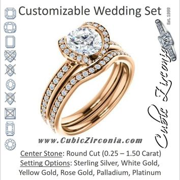 CZ Wedding Set, featuring The Victoria engagement ring (Customizable Bezel-set Round Cut Semi-Halo Design with Prong Accents)
