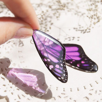 Purple butterfly Earrings - Violet Butterfly Wing morpho - Dangle Transparent Butterfly Earrings - Summer Earrings - purple earrings