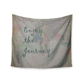 "Catherine Holcombe ""Journey"" World Map Wall Tapestry"