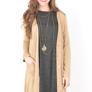 Long Tan Mineral Wash Cardigan with Side Pockets