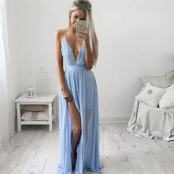 Sky Blue Strappy Chiffon Maxi Prom Dress