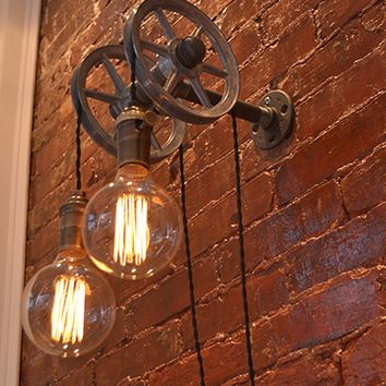 Double Pulley Wall Light