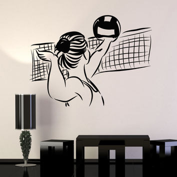Vinyl Wall Decal Volleyball Player Ball Sports Girl Stickers Murals Unique Gift (ig4818)