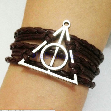 Infinity Bracelet, Harry Potter Hallows Bracelet ,Friendship Gift,Cosplay Gift,Fashion Jewelry, etsy leather wrap bracelet C-003