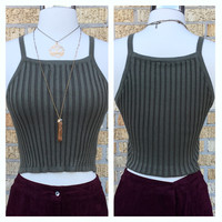 A Ribbed Halter Crop in Olive