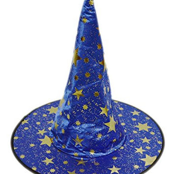 Misomi-Adult Halloween Masquerade Witch Wizard Sorcerer Hat (one size, Blue)