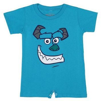 Monsters, Inc. I Am Sulley Face Disney Baby One-Piece Bodysuit Romper - Blue