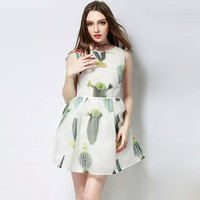 White Cactus Print Sleeveless Pleated Mini Dress