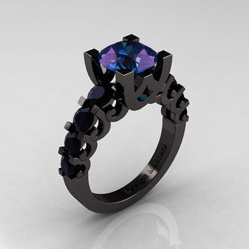 Modern Vintage 14K Black Gold 2.5 Carat Alexandrite Black DIamond Designer Wedding Ring R142-14KBGBDAL
