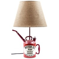Red Resin Oil Can Lamp with Tan Shade | Shop Hobby Lobby