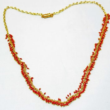 Coral Gem Necklace - Orange Bead Necklace, Gold Plated Necklace, Orange Bead Cluster Necklace, Magnetic Clasp