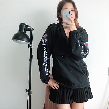 2019 Champion Black Fashion Sun Protective Clothing M--XXL